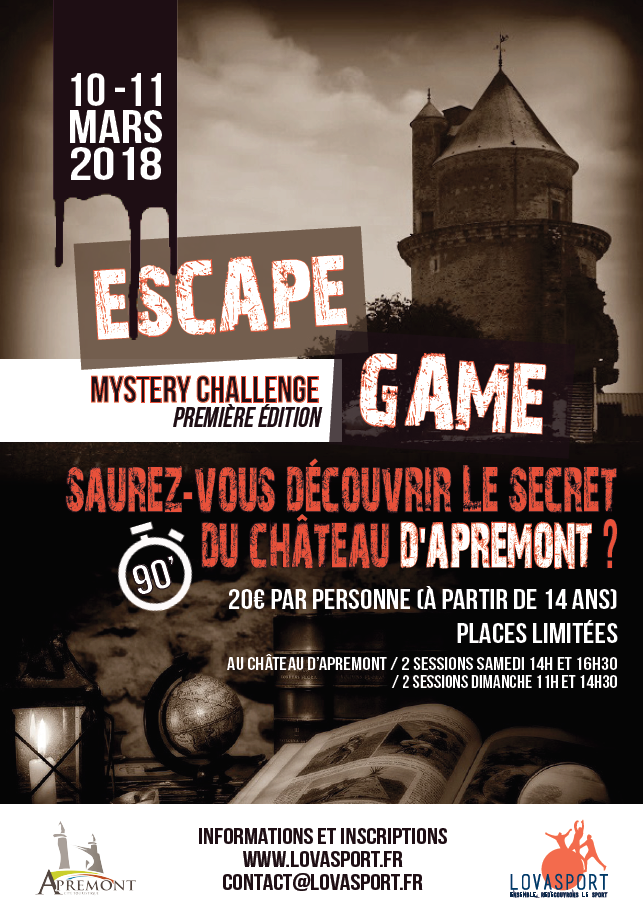 mystery challenge ch teau d apremont escape game avis promo. Black Bedroom Furniture Sets. Home Design Ideas